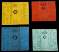 Four 1925-30 Stingemore-designed London Underground folding pocket maps,dated 1925 (red), 1926 (pale