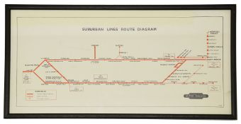 A framed BR 1944 Suburban Lines Route Diagram