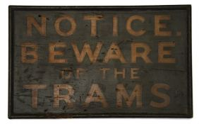 An early 20th century hand painted wooden sign