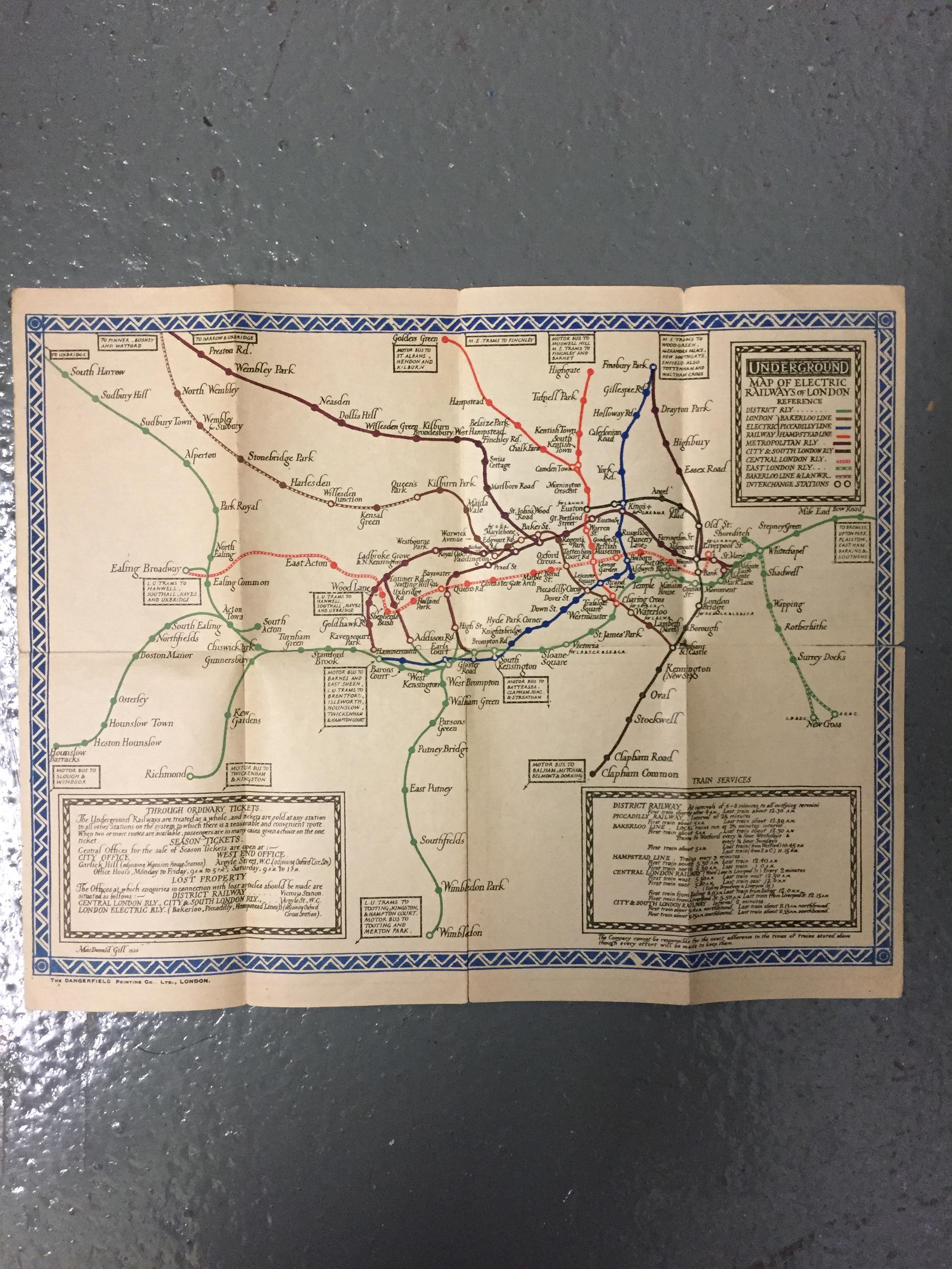 Nine 1910/20s folding pocket maps for London transport,comprising a 1916 General Omnibus Map of some - Image 9 of 15