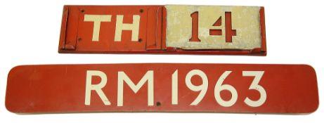 A London Transport Routemaster bus bonnet fleet number plate