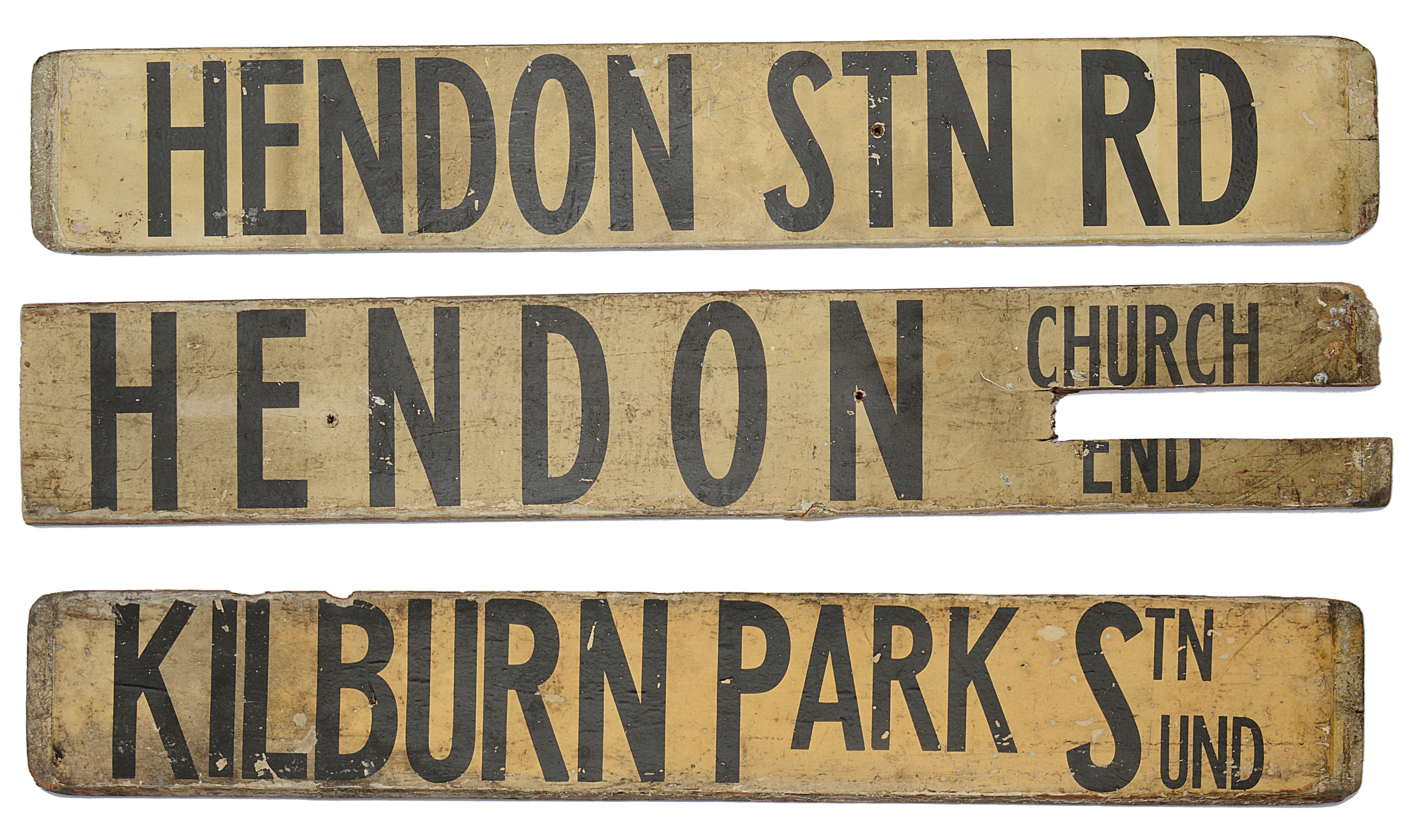Three double sided wooden destination signs - Image 2 of 8