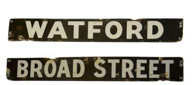 An LMS/LNWR enamel destination plate for WATFORD / BROAD STREET