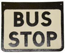 A cast iron Bus Stop sign