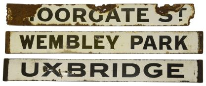 Three Metropolitan Railway enamel destination plates,early 20th century, double-sided reading