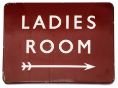 A BR(M) enamel direction sign displaying 'LADIES ROOM',white lettering on a red ground with a