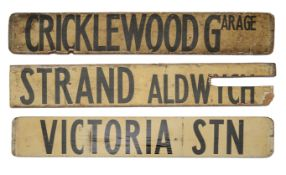 Three double sided wooden destination signs