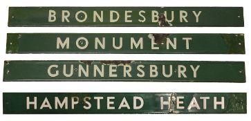 Four London Underground enamel destination plates for the District line,
