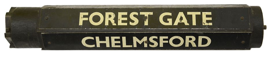 A rotating destination sign for a Great Eastern Main Line train