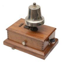 A railway signal box block bell made by R. E. Thompson