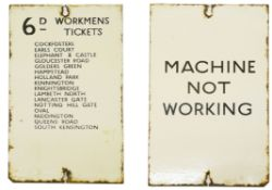 A London Underground double-sided enamel sign for a ticket machine