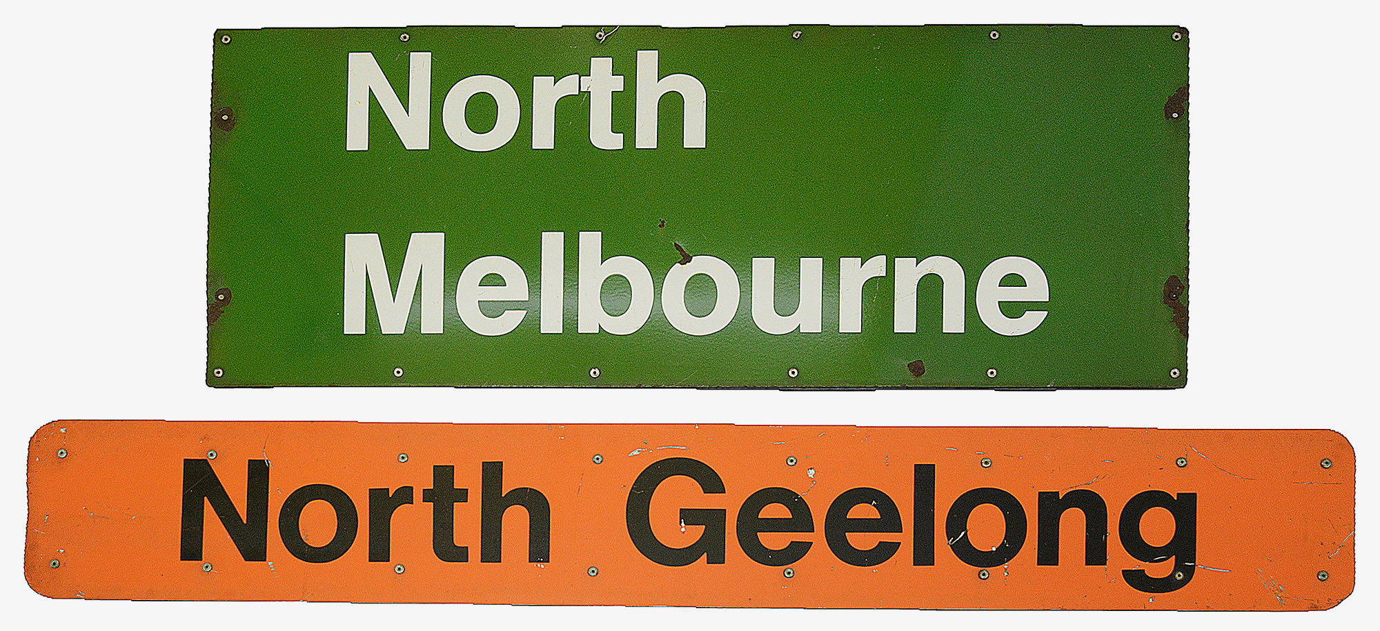 Two Australian enamel railway signs for North Melbourne and North Geelong