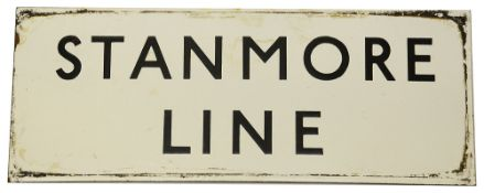A London Underground enamel sign displaying 'STANMORE LINE'