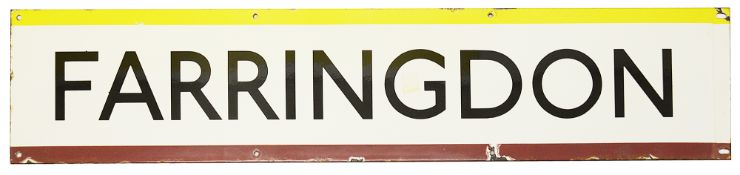 A London Underground enamel station frieze sign for Farringdon