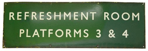A BR(S) enamel sign displaying 'REFRESHMENT ROOM / PLATFORMS 3 & 4,with white letters on a green