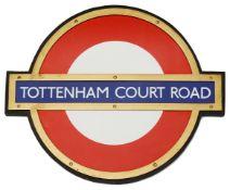 A London Underground Tottenham Court Road enamel 'bullseye' roundel sign,in bronze frame and mounted