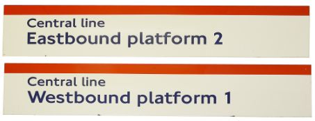 Two London Underground enamel station frieze signs