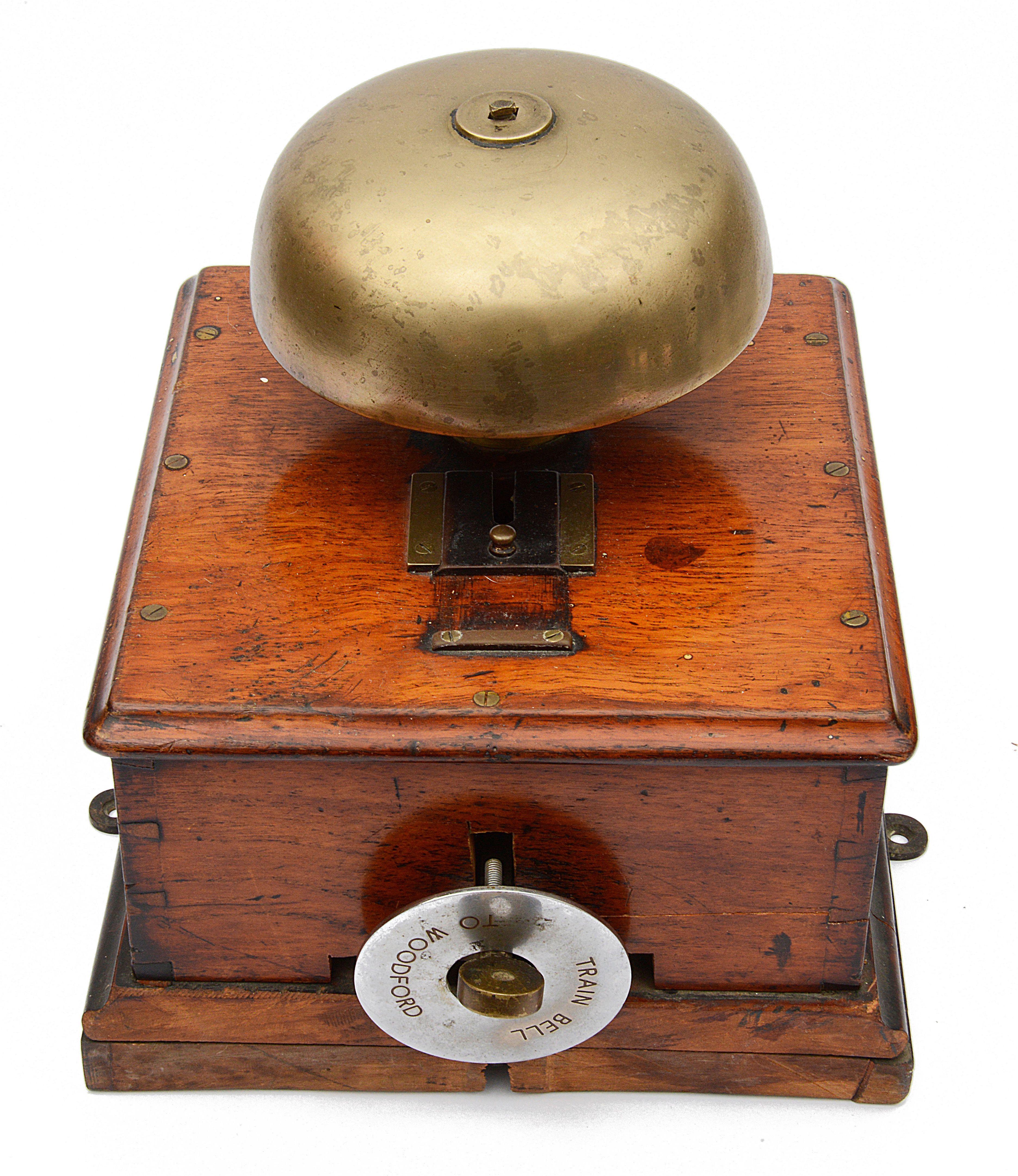 A railway signal box block bell