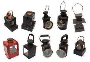A collection of British Railway and other signal lamps and lanternsto include four three-lens lamps,