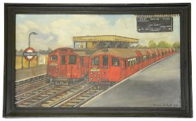 Malcolm Drabwell (British, 20th century),'Stroud Green Underground Station', oil on board, signed