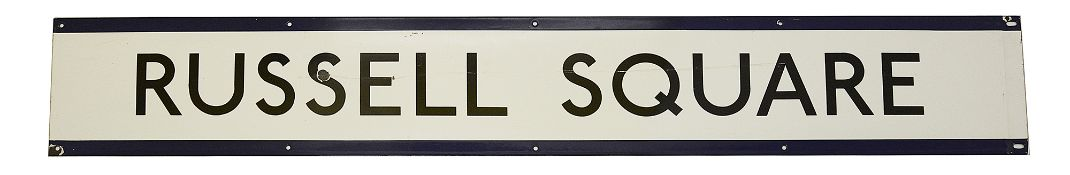 A London Underground enamel station frieze sign for Russell Square