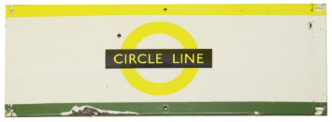 A London Underground enamel station frieze signs for 'CIRCLE LINE',yellow/black roundel on white