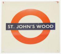 A London Underground enamel station roundel for St. John's Wood