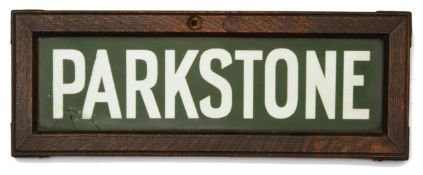 A Southern Railway Lamp Tablet Sign for Parkstone station