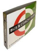 A London Transport enamel Bus & Coach stop flag,bus compulsory and coach request version,1950s/