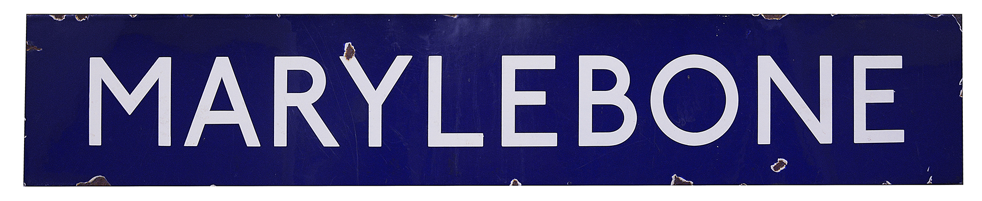 A London Underground enamel station sign for Marylebone,with white lettering on a blue