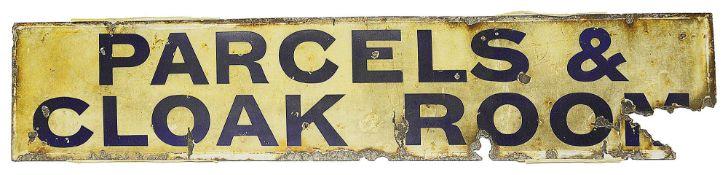A Railway station Parcels & Cloak Room enamel sign