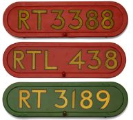 Three London Transport bus fleet number bonnet plates,the first displaying 'RT 3189', gold lettering