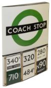 A London Transport enamel Coach stop flag with six e-plates,compulsory version,a double sided 'boat'