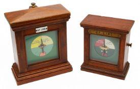 Two mahogany cased signal box line block instruments
