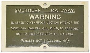 A Southern Railway cast iron trespass notice,