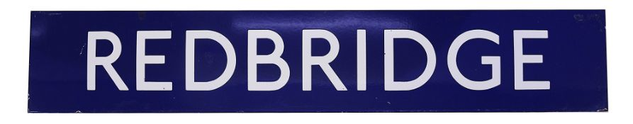 A London Underground enamel station sign for Redbridge