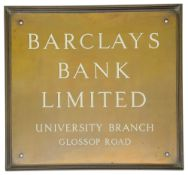 A Barclays Bank Limited bronze and enamel sign,