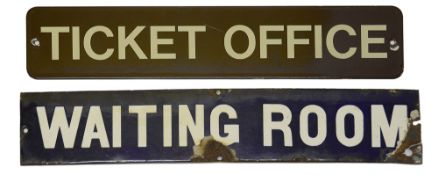 Two railway station enamel doorplate signs displaying 'TICKET OFFICE' and 'WAITING ROOM',the first