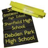 A bundle (10) of black on yellow destination blinds