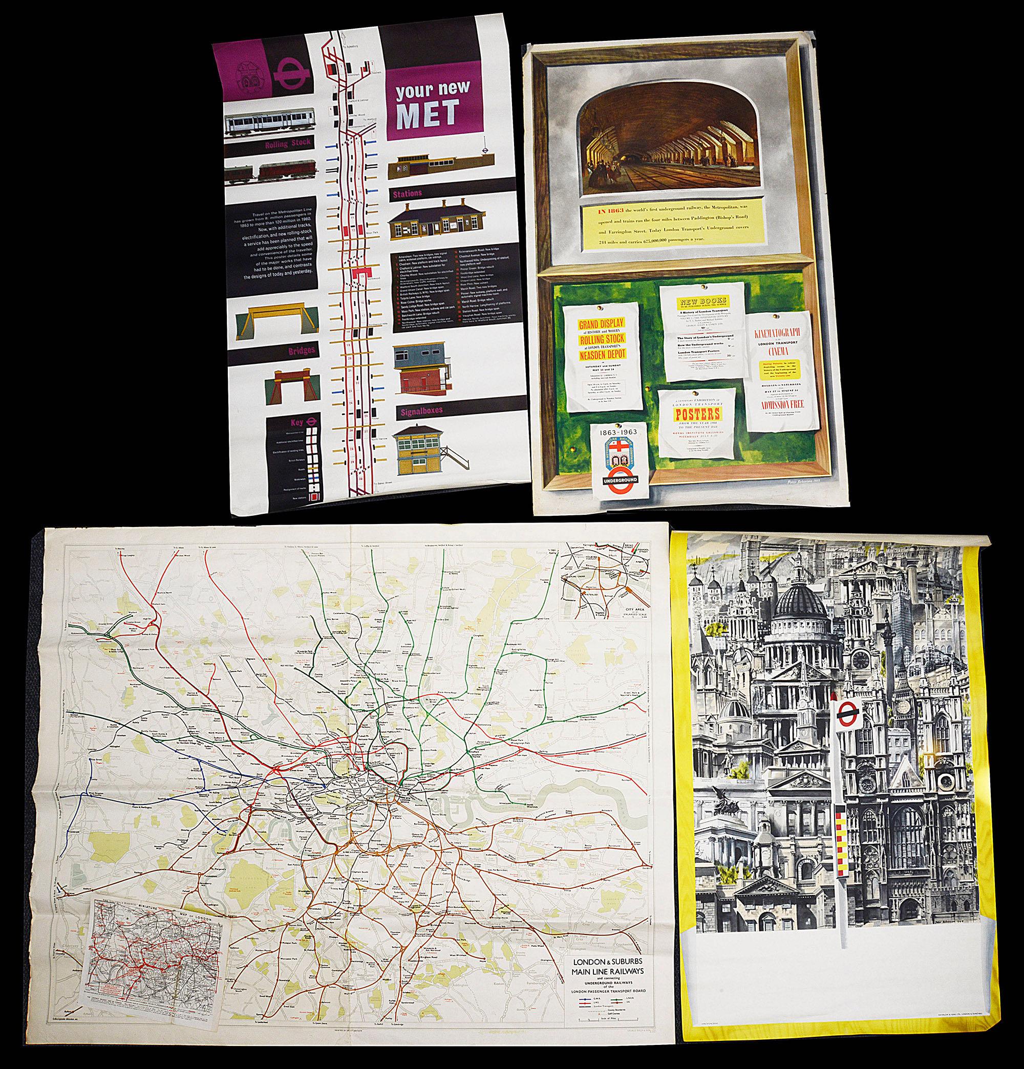 Three London Underground posters and three paper maps