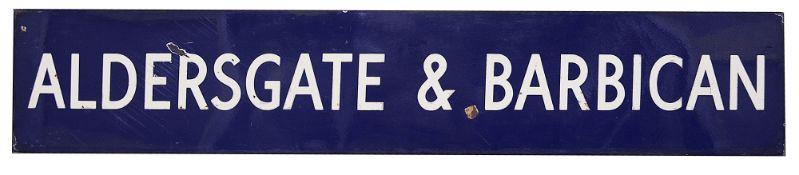 A London Underground enamel station sign for Aldersgate & Barbican,mid-20th century, with white