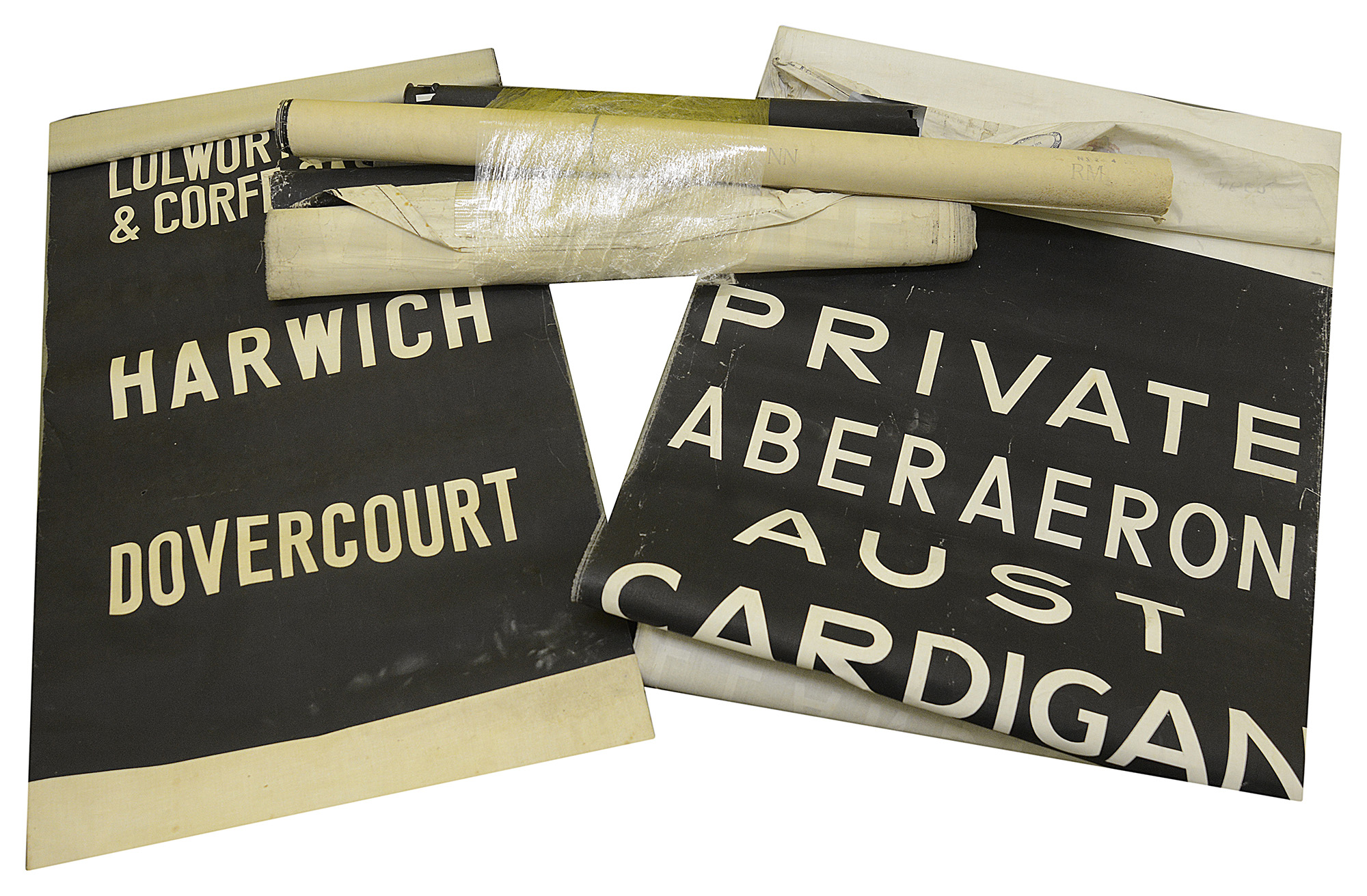 A bundle of linen and other destination blinds dating from 1970s onwards