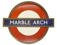 A London Underground Marble Arch enamel 'bullseye' roundel sign,with bronze frameheight 50.5cm,