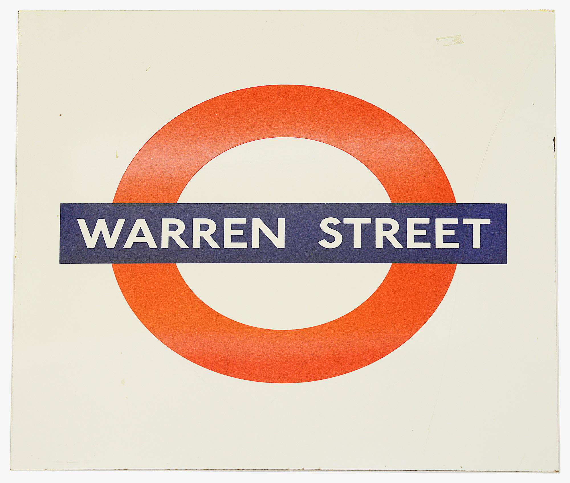 A London Underground enamel station roundel for Warren Street