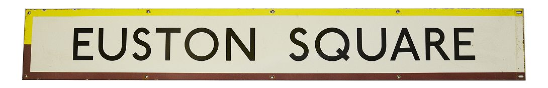 A London Underground enamel station frieze sign for Euston Square,black lettering on a white