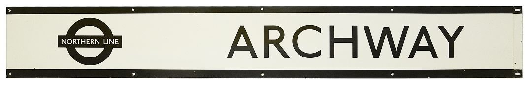 A London Underground enamel station frieze sign for Archway
