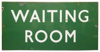 A BR(S) enamel sign displaying 'WAITING ROOM',with white lettering on a green ground, height 30.6cm,