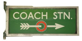 A c.1930s London Transport enamel direction sign displaying 'COACH STN.',a double sided signed