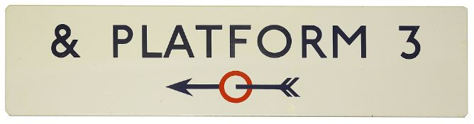 A London Underground enamel directional sign displaying '& PLATFORM 3',with blue lettering on a