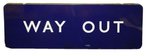 A BR(E) enamel sign displaying 'WAY OUT'with white lettering on a blue groundheight 30.5cm, width
